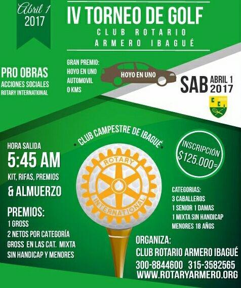 Club Rotario de Armero organiza torneo de Golf